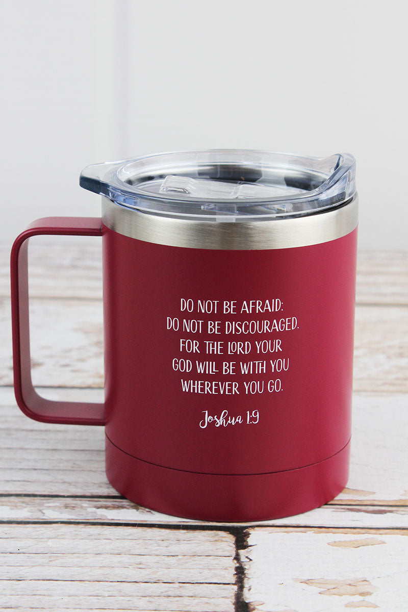 Joshua 1:9 'Be Strong & Courageous' Stainless Steel Travel Campfire Mug