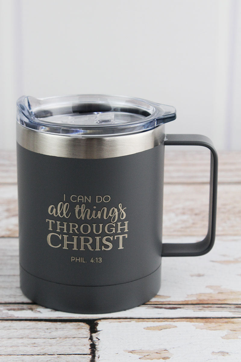 Philippians 4:13 'All Things' Stainless Steel Travel Campfire Mug