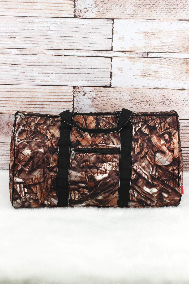 NGIL BNB Natural Camo Quilted Duffle Bag with Black Trim 21""