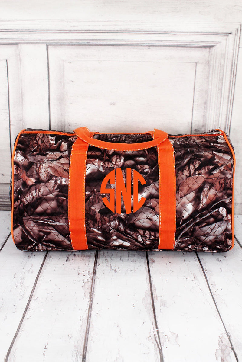BNB Natural Camo Quilted Duffle Bag with Orange Trim 21""