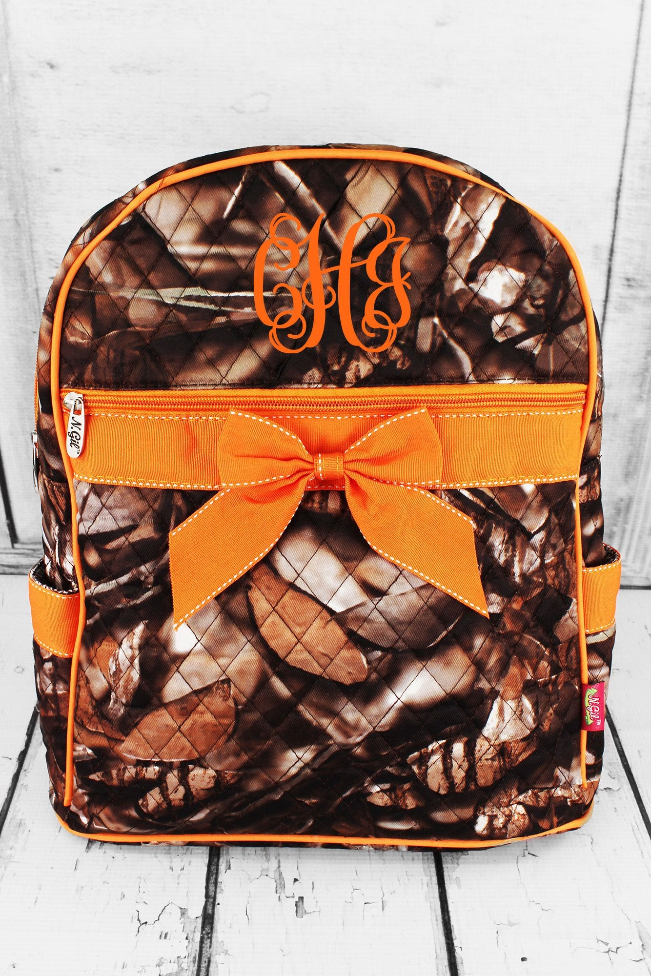 SALE! NGIL BNB Natural Camo Quilted Large Backpack with Orange Ribbon