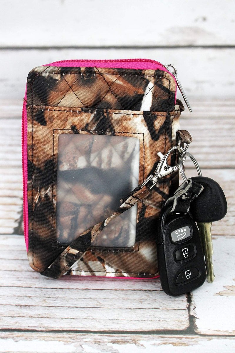 NGIL BNB Natural Camo with Hot Pink Trim Quilted Wristlet