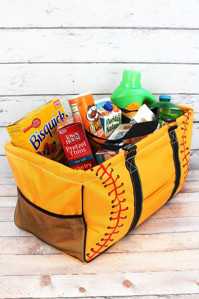 NGIL Softball Laces Collapsible Haul-It-All Basket with Mesh Pockets