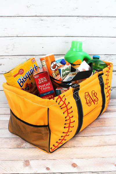 Softball Laces Collapsible Haul-It-All Basket with Mesh Pockets