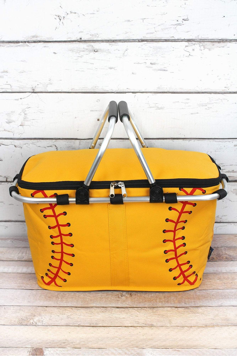 NGIL Softball Laces Collapsible Insulated Market Basket with Lid