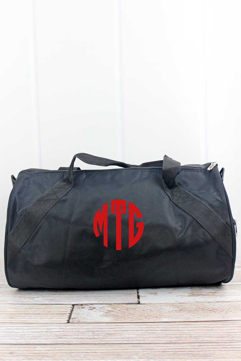 NGIL Embroidered Soccer Black Barrel Duffle Bag 18""