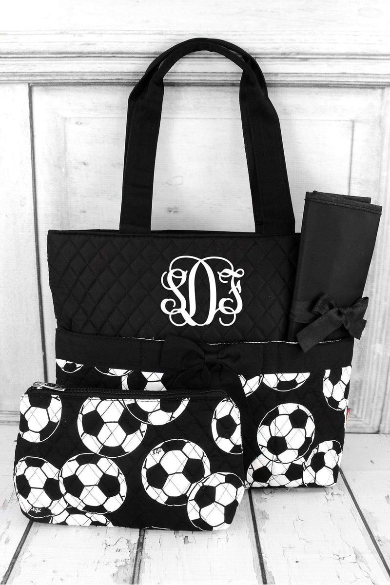 *Soccer Quilted Diaper Bag with Black Trim #SOC2121-BLACK - Wholesale Accessory Market