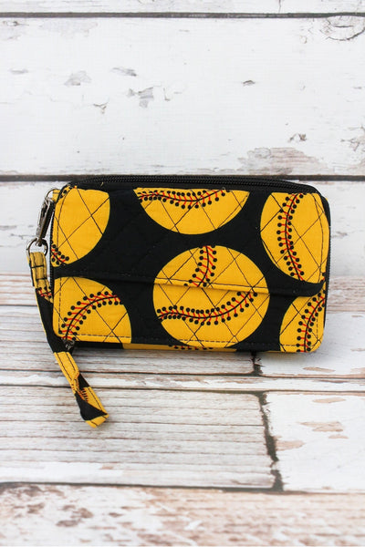 NGIL Softball Quilted Crossbody Organizer Clutch