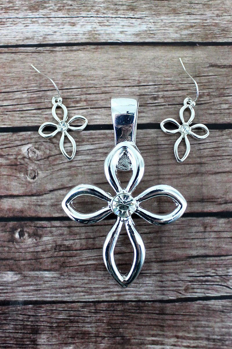 Silvertone and Crystal Open Cross Pendant and Earrings Set