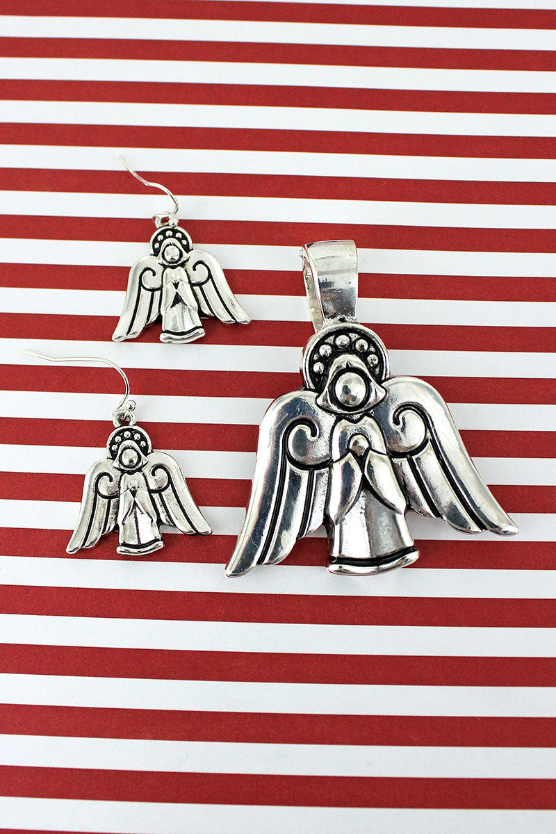 Silvertone Angel Pendant and Earrings Set