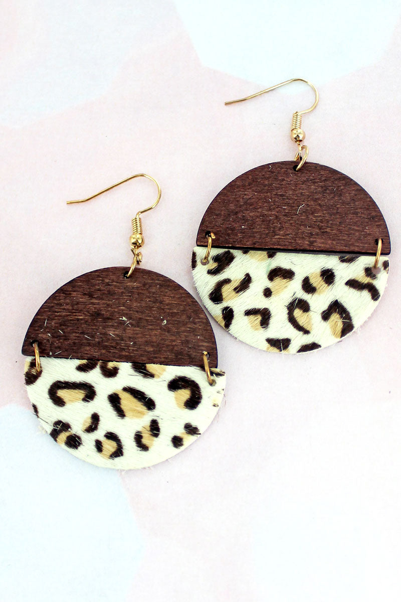 White Leopard and Wood Split Disk Earrings