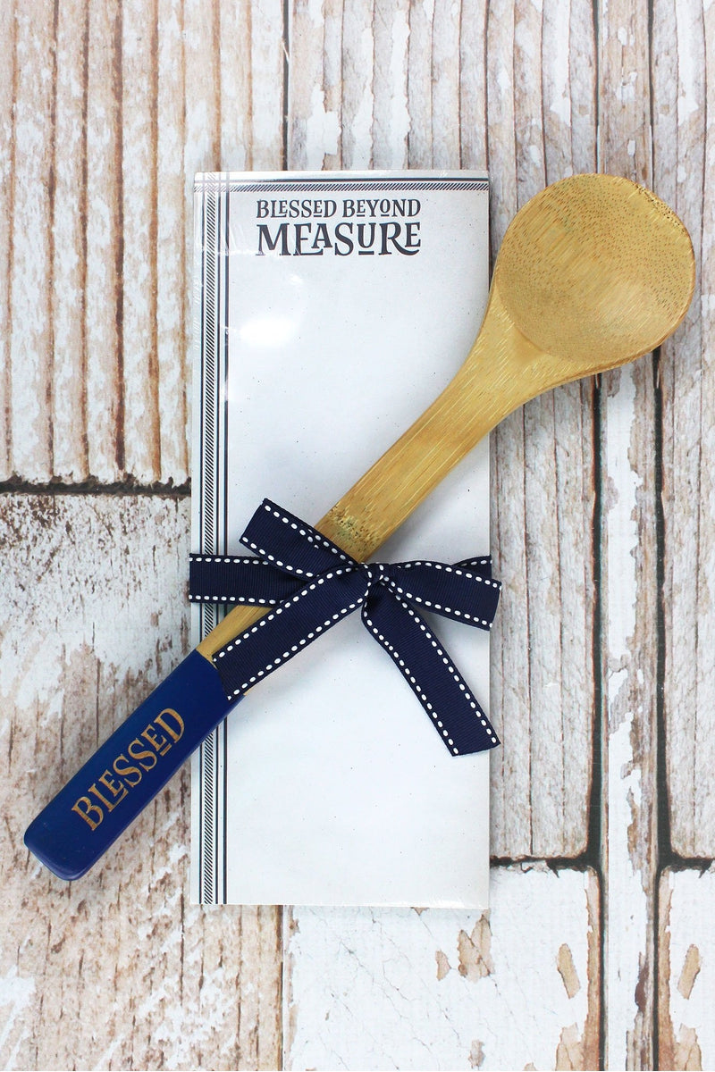 Blessed Beyond Measure Bamboo Spoon and Notepad Set