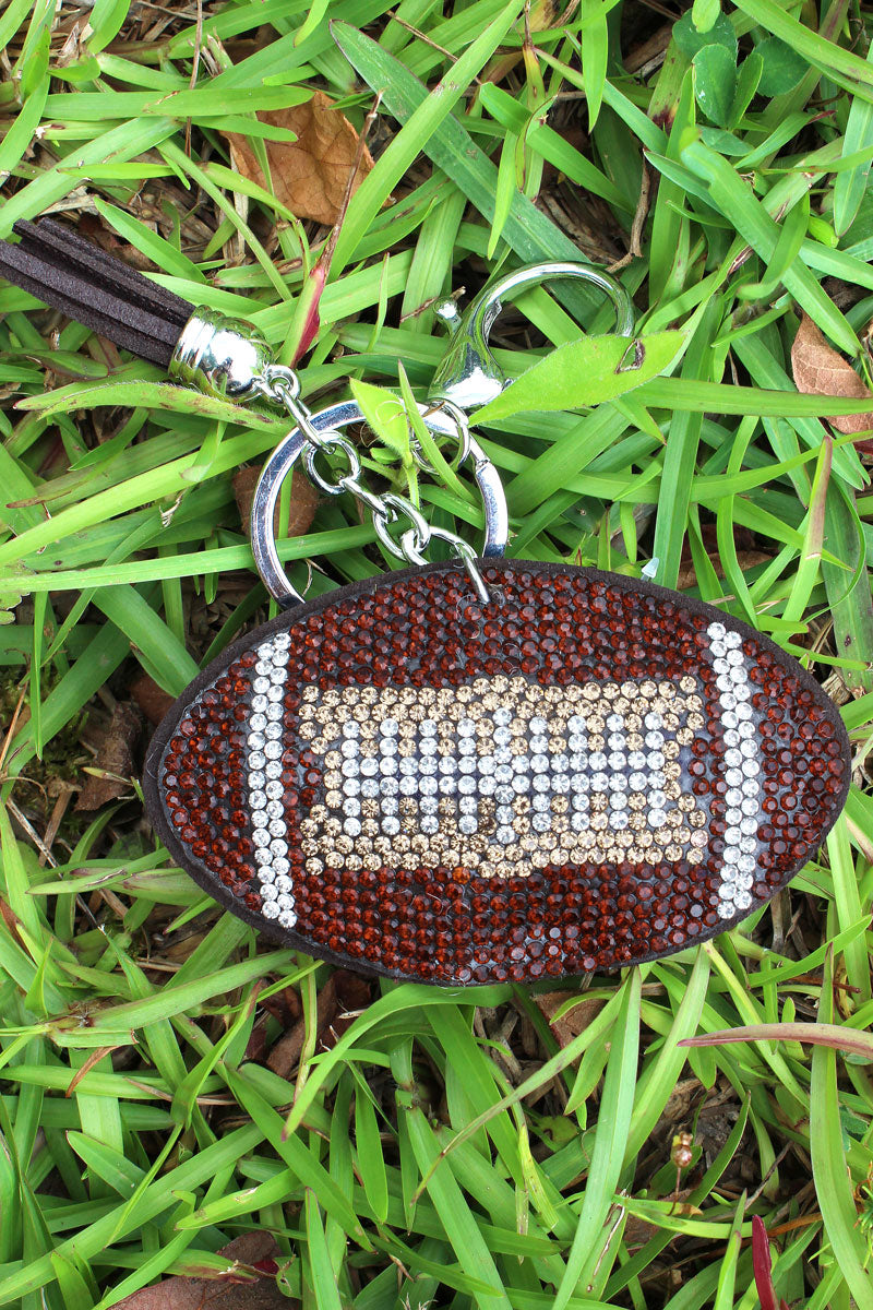 Crystal Football with Tassel Charm Keychain