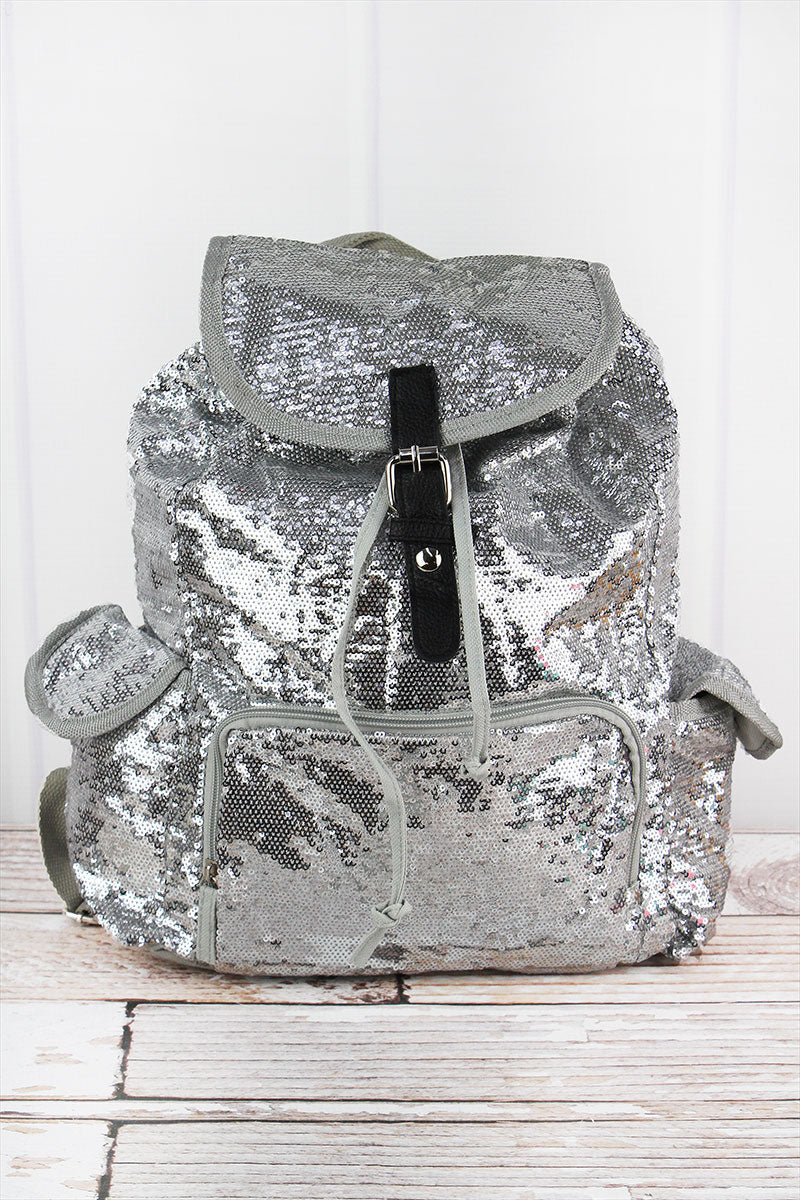 SALE! NGIL Silver Mermaid Sequin Drawstring Backpack