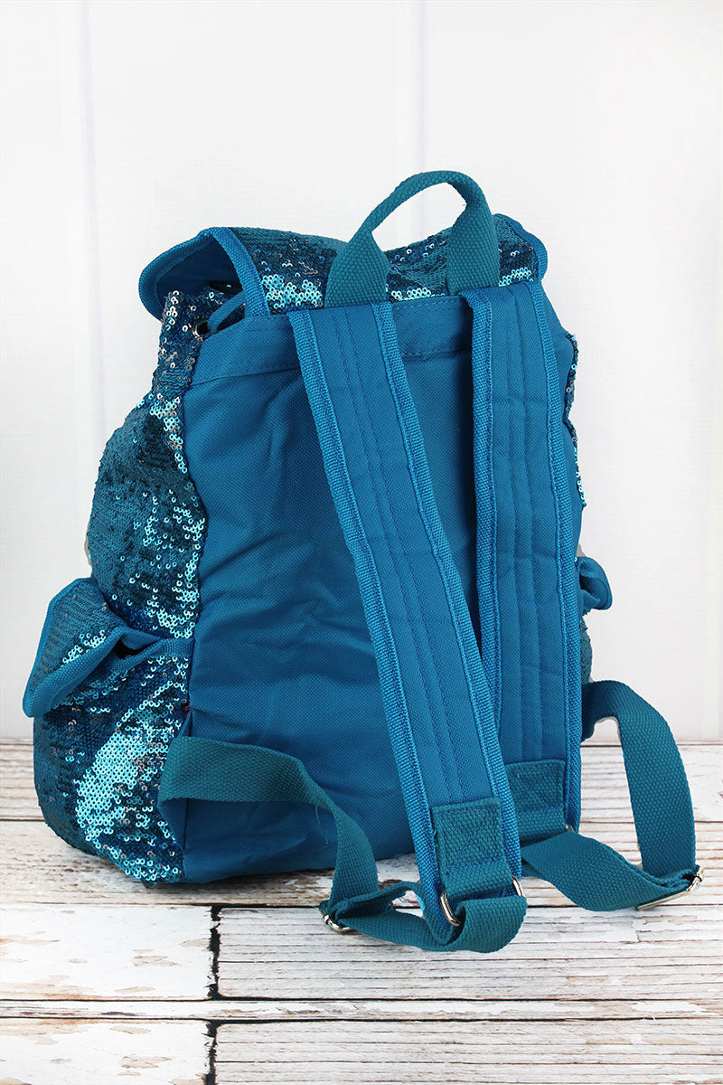 SALE! NGIL Turquoise and Silver Mermaid Sequin Drawstring Backpack