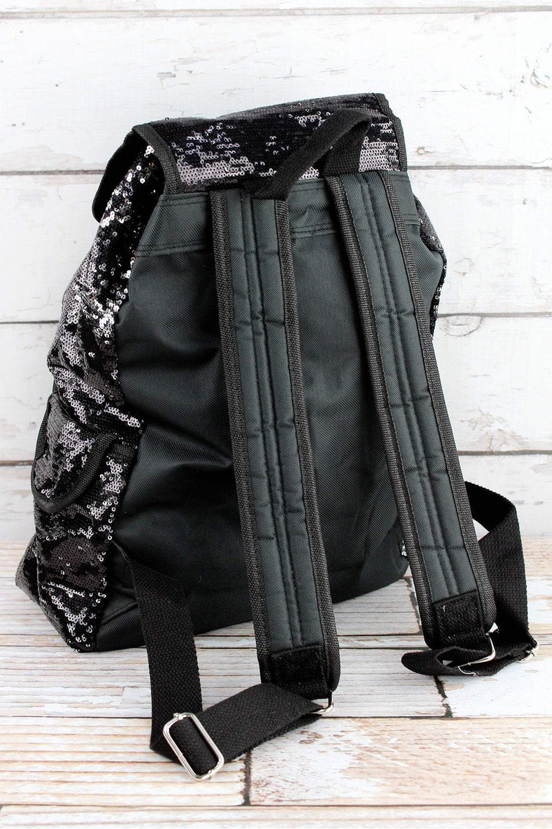 NGIL Black and Silver Mermaid Sequin Large Drawstring Backpack