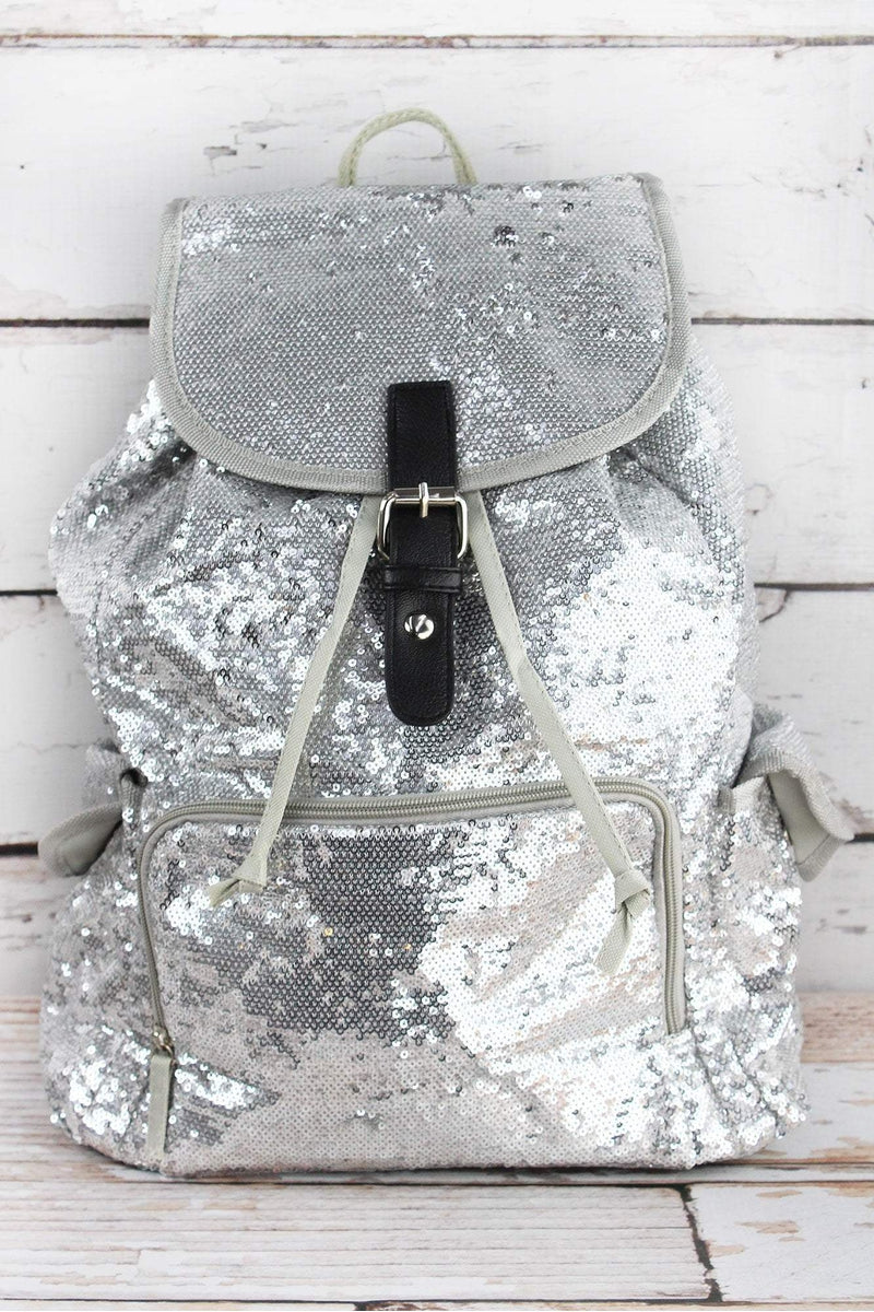 NGIL Silver Mermaid Sequin Large Drawstring Backpack