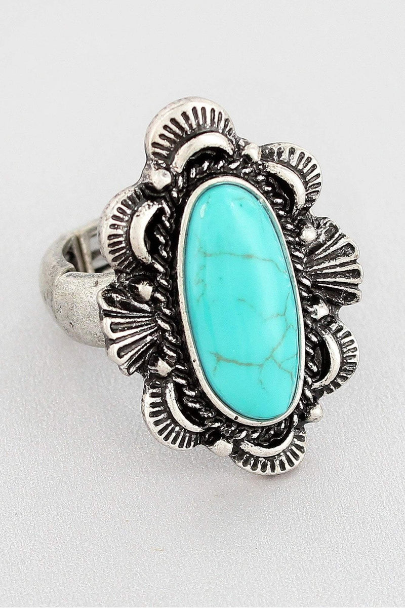 Burnished Silvertone and Turquoise Western Concho Ring #SR0031-SBTQ