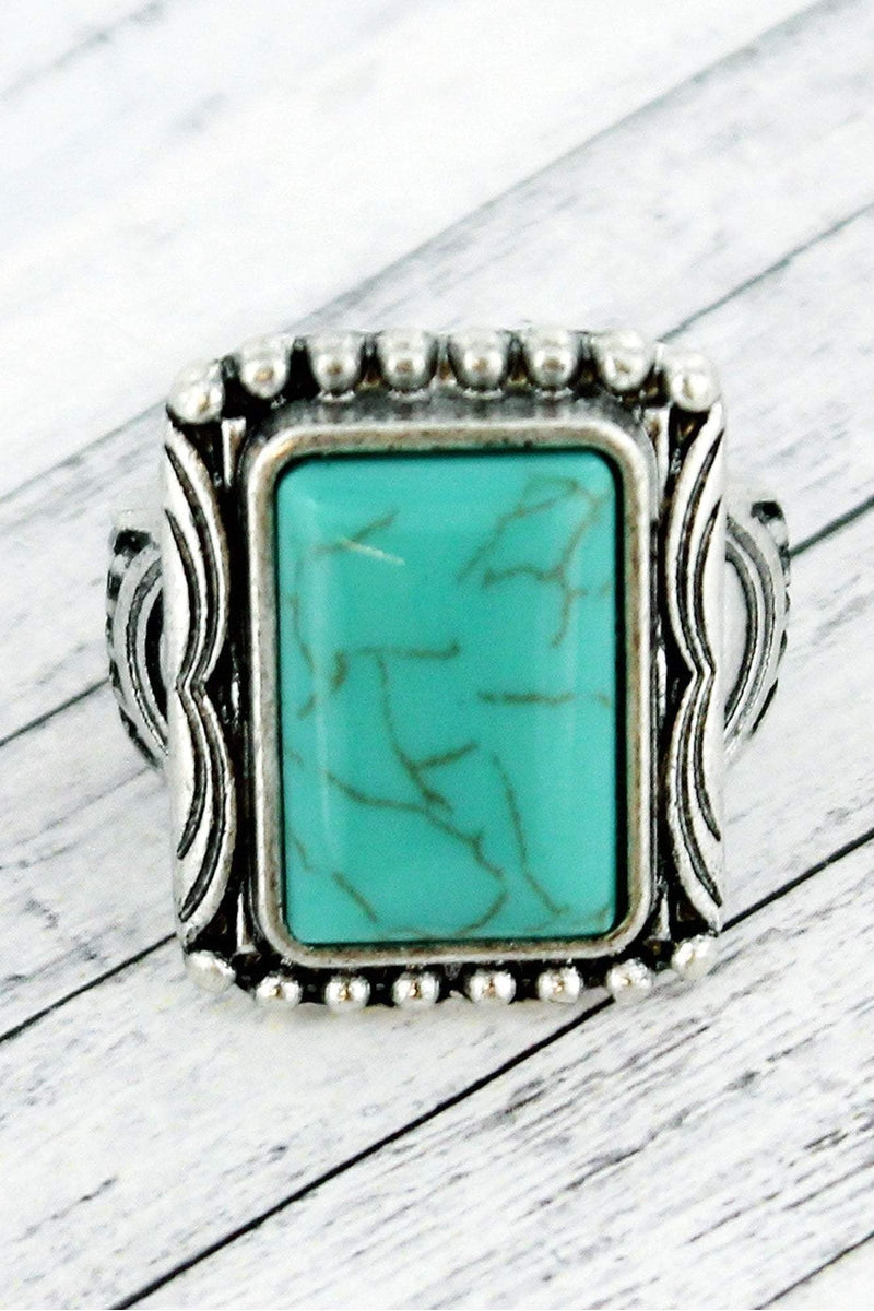 Burnished Silvertone and Turquoise Stone Rectangle Ring