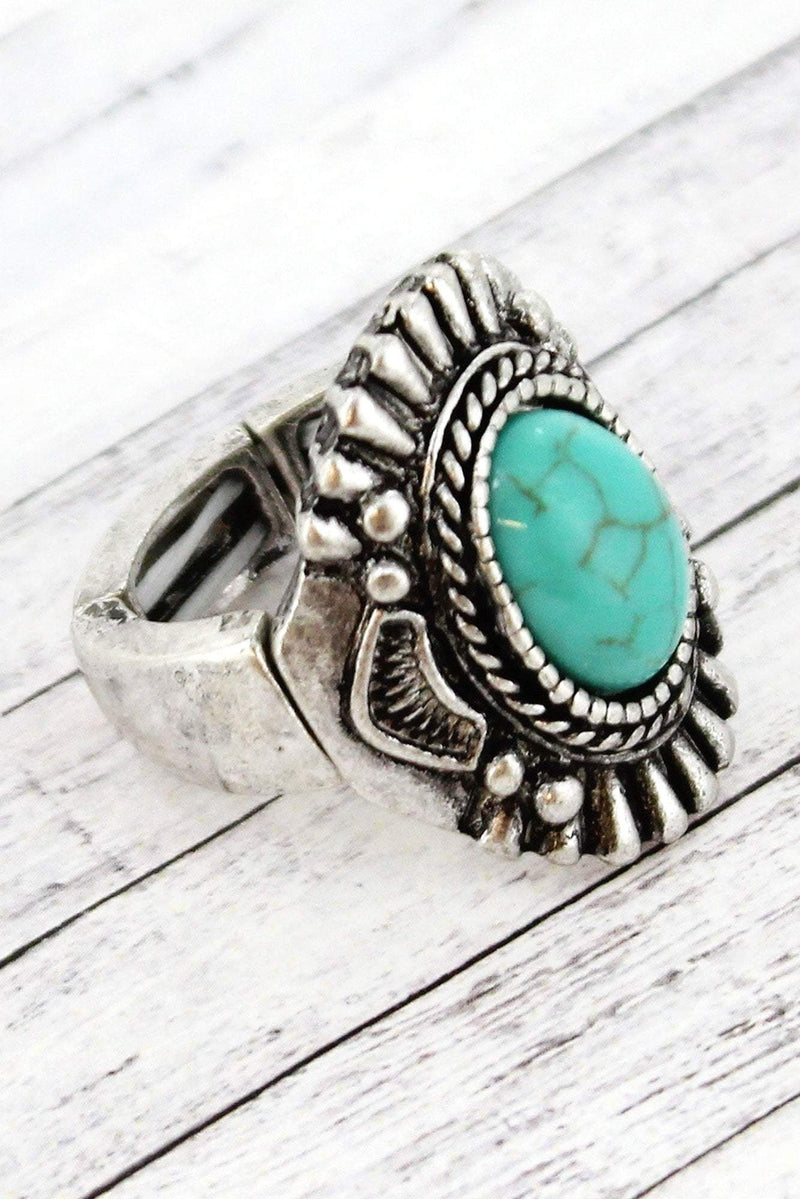 Turquoise Bead and Burnished Silvertone Oval Concho Ring