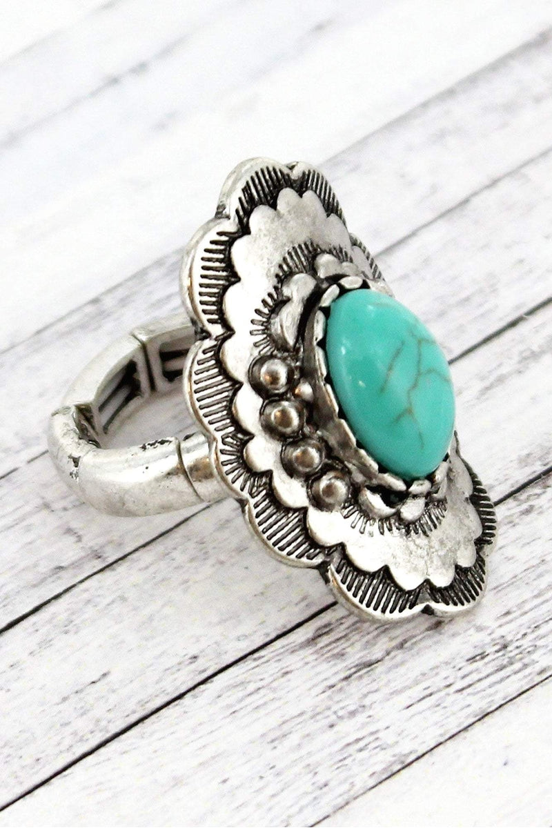 Burnished Silvertone and Turquoise Bead Scalloped Flower Ring