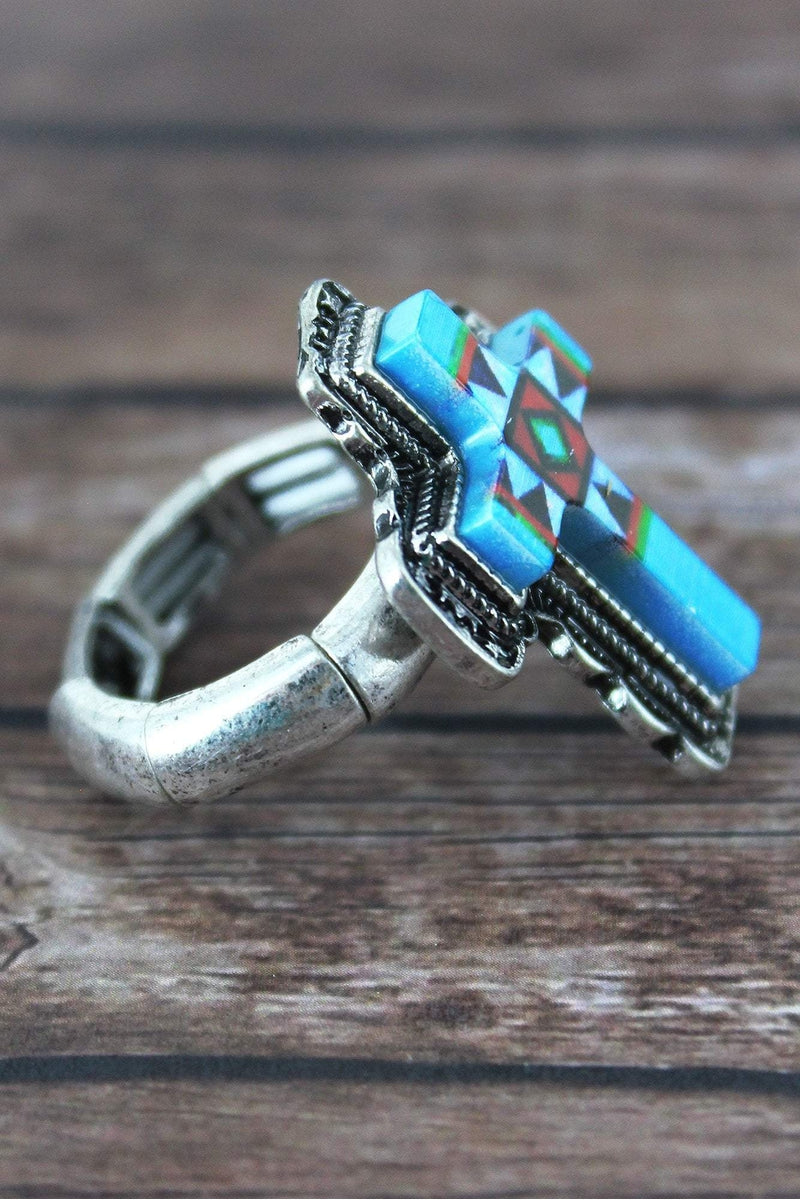 Southwestern Silvertone Cross Ring