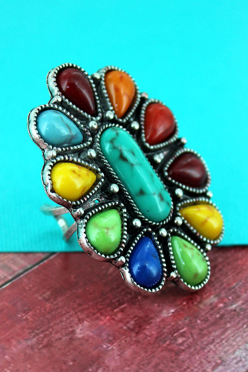 Multi-Color Beaded Burnished Silvertone Scalloped Oval Ring