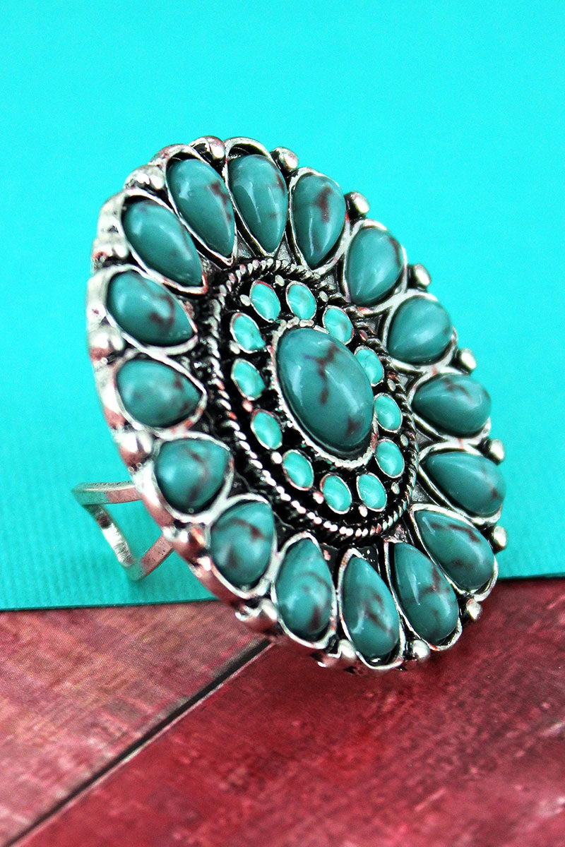 Turquoise Beaded Burnished Silvertone Concho Ring