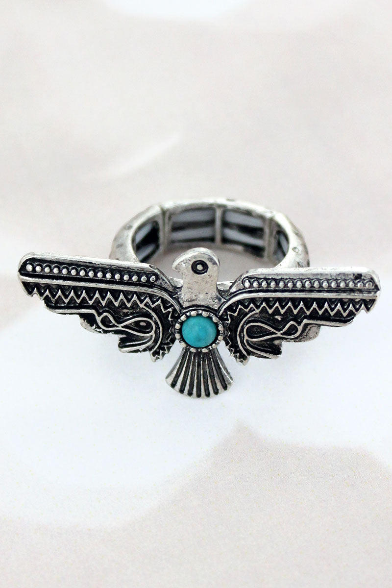 Silvertone with Turquoise Bead Thunderbird Ring