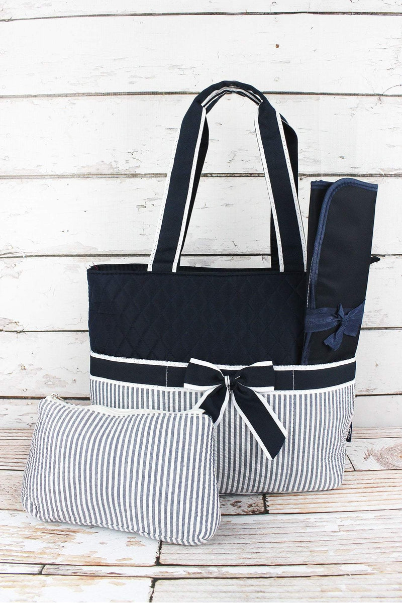 Navy Striped Seersucker Quilted Diaper Bag