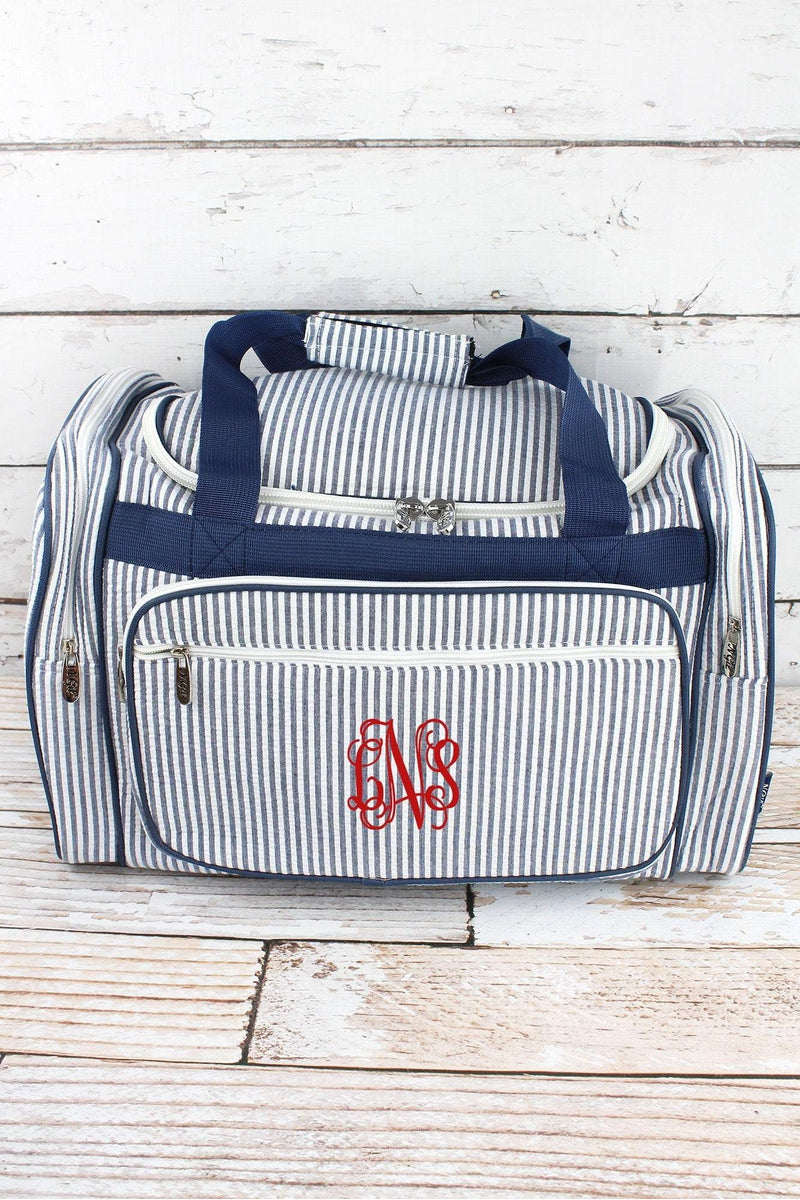 NGIL Navy Striped Seersucker Duffle Bag 20""