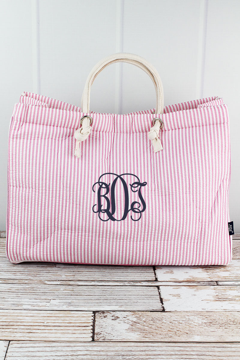 NGIL Large Pink Striped Seersucker Shoulder Tote