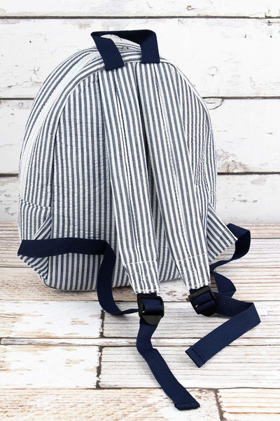 NGIL Navy Striped Seersucker Small Backpack