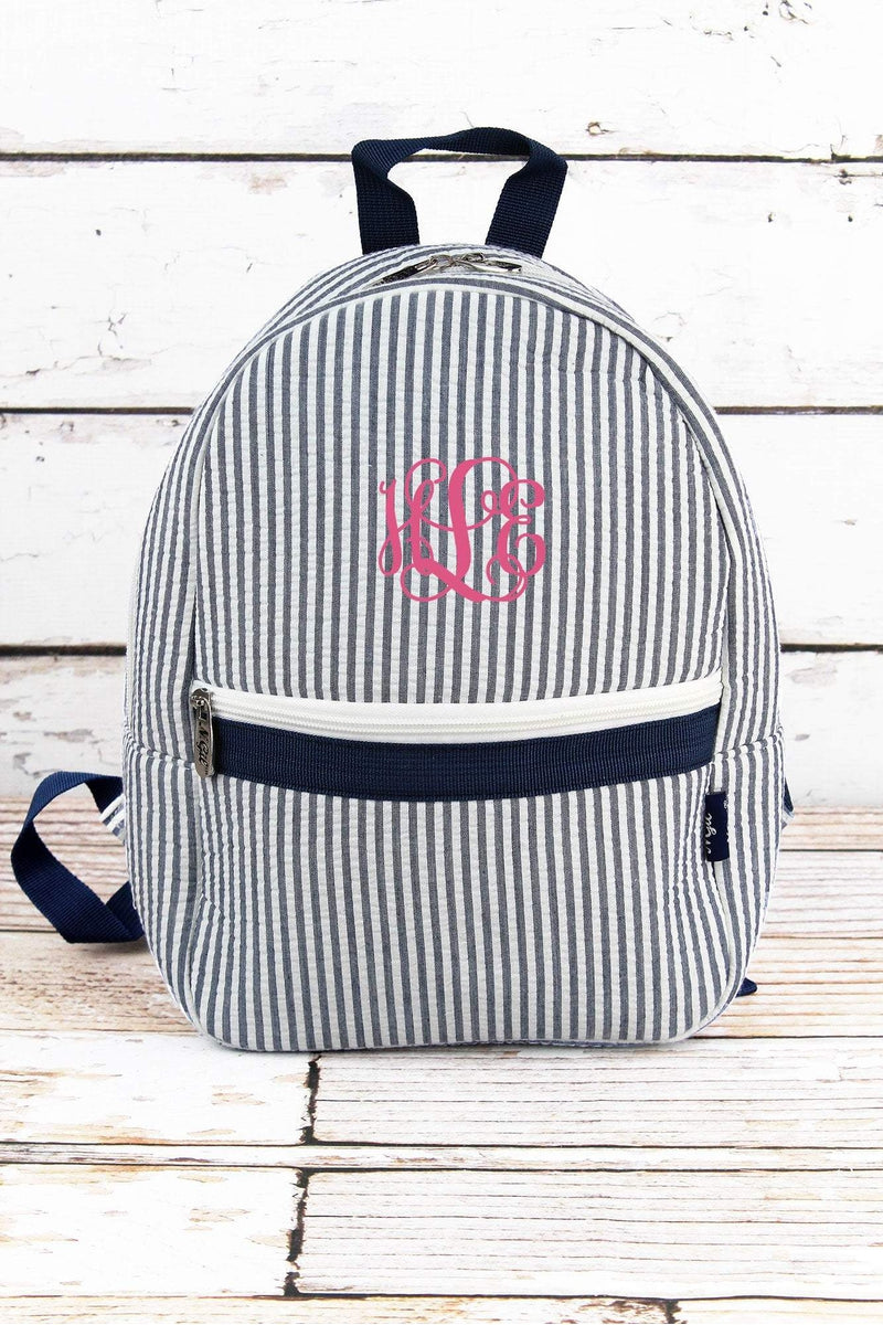 Navy Striped Seersucker Small Backpack