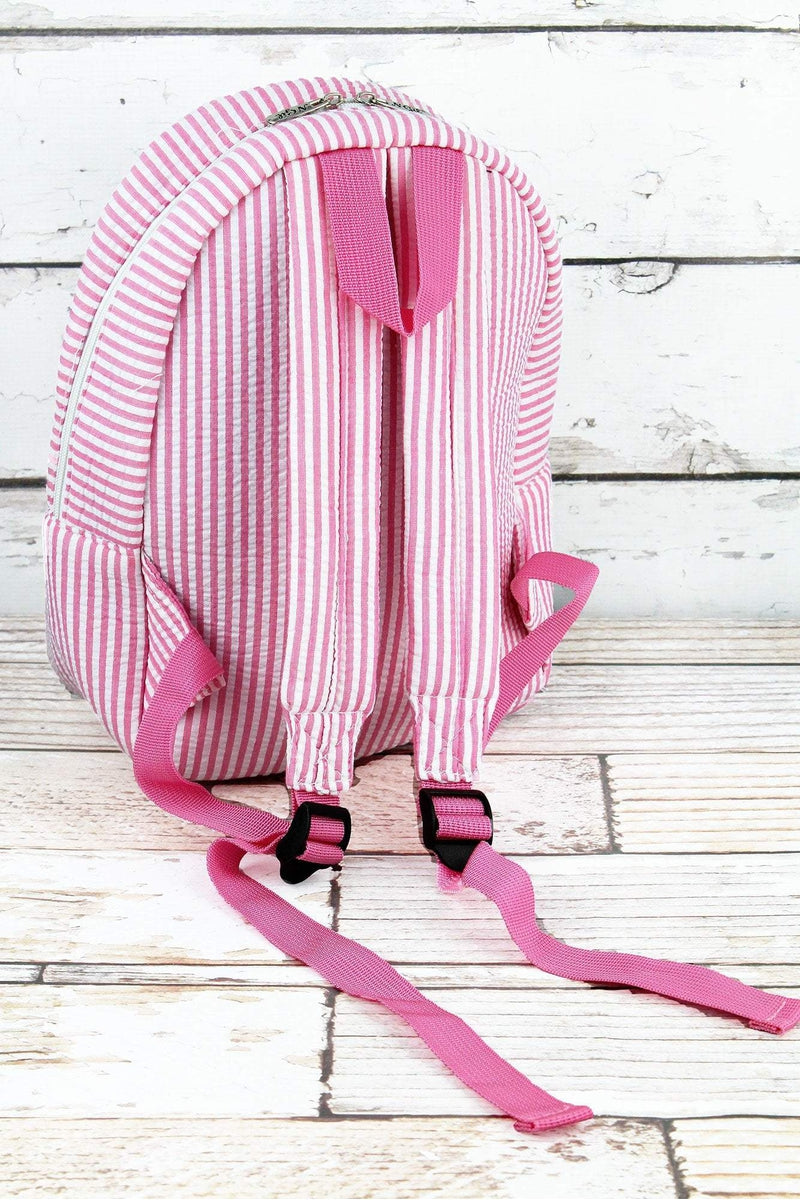 Pink Striped Seersucker Small Backpack