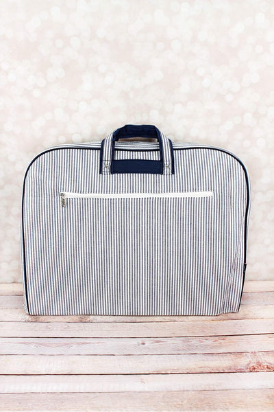 NGIL Navy Striped Seersucker Garment Bag