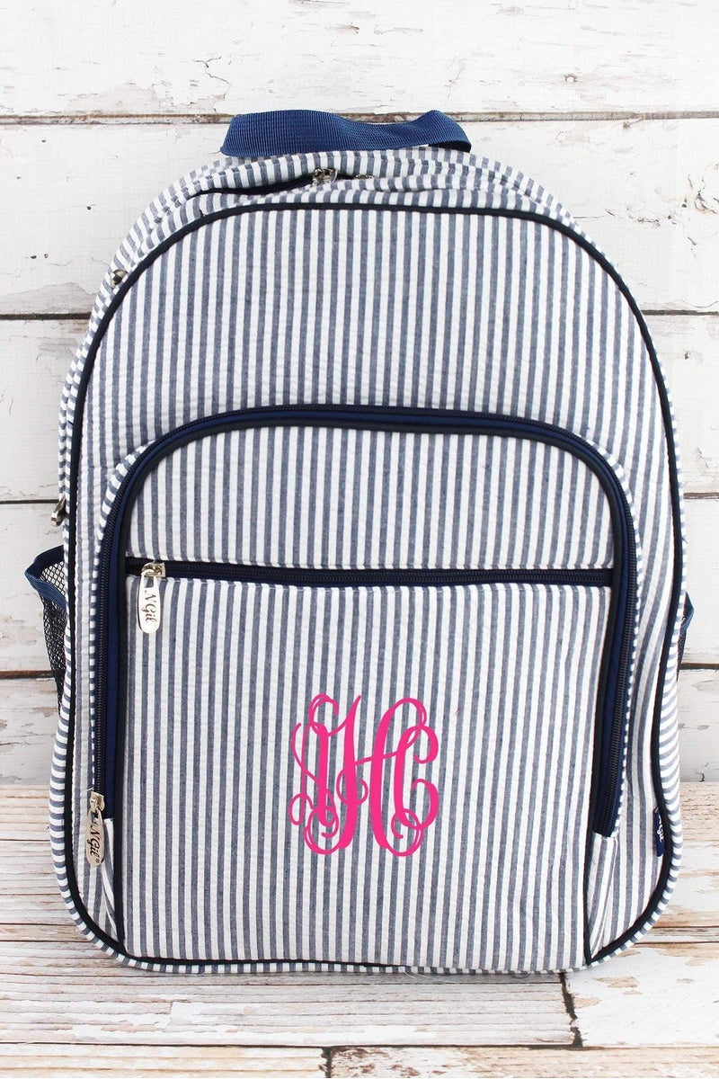 NGIL Navy Seersucker Striped Oversized Backpack