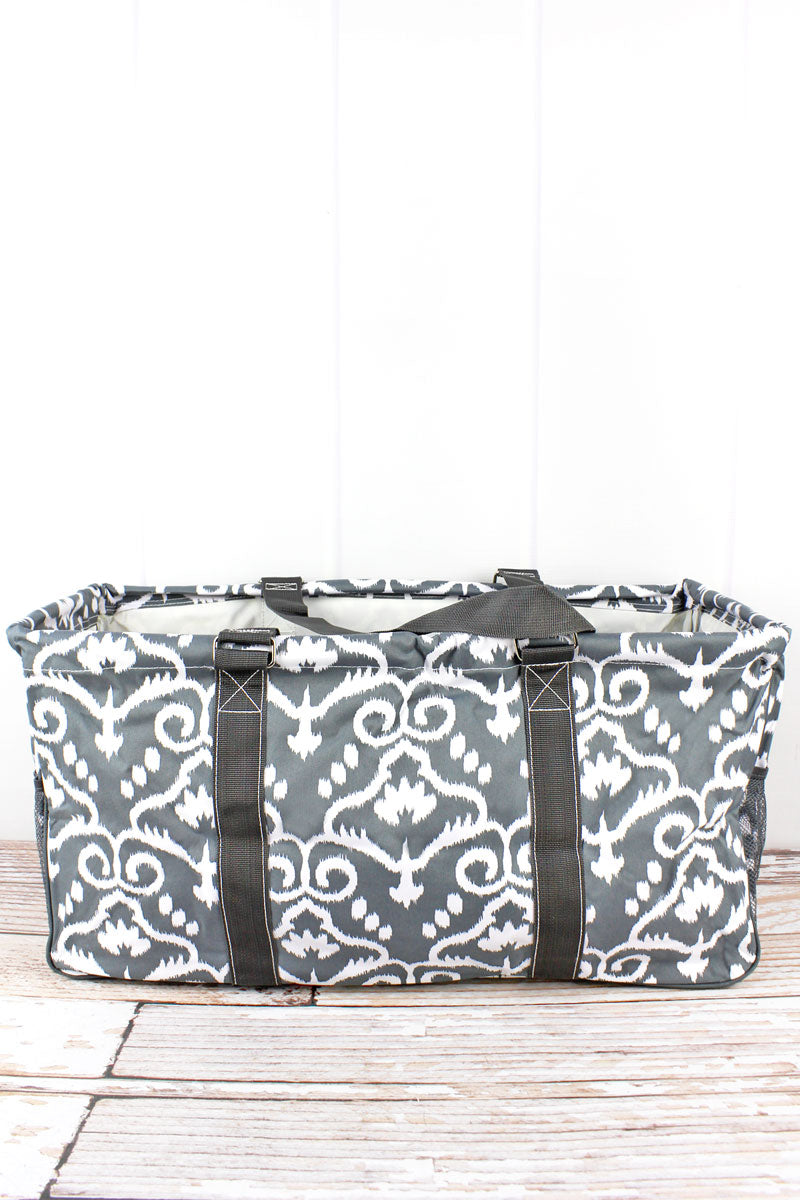 NGIL Dizzy Damask Collapsible Haul-It-All Basket with Mesh Pockets