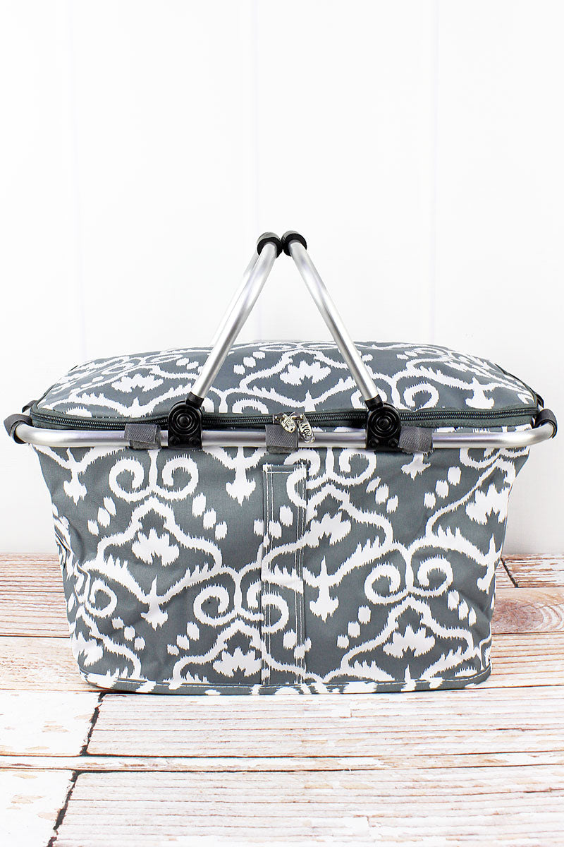 NGIL Dizzy Damask Collapsible Insulated Market Basket with Lid
