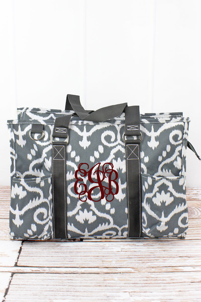 NGIL Dizzy Damask Utility Tote with Gray Trim