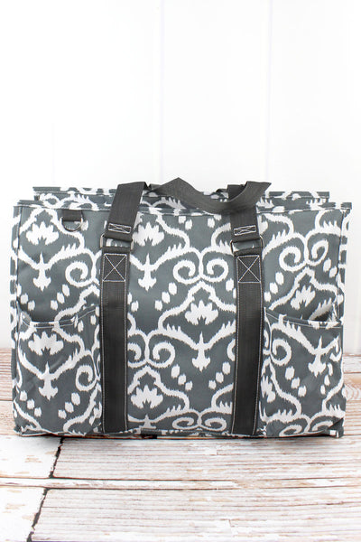 NGIL Dizzy Damask with Gray Trim Large Organizer Tote