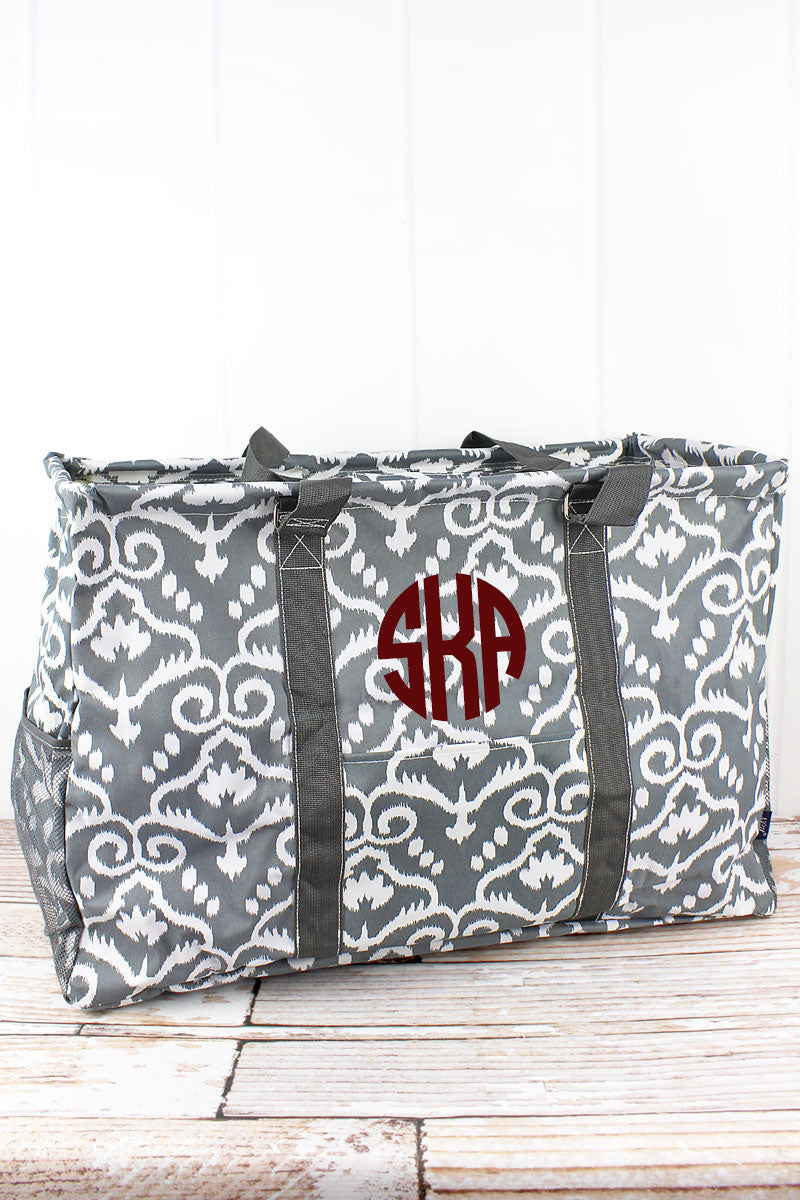 NGIL Dizzy Damask Collapsible Double Haul-It-All Basket with Mesh Pockets and Lid