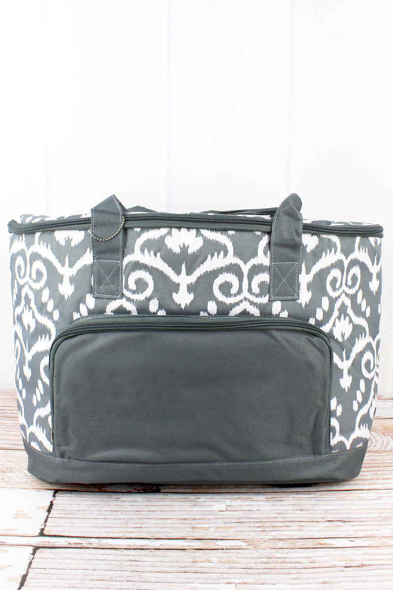 NGIL Dizzy Damask and Gray Cooler Tote with Lid