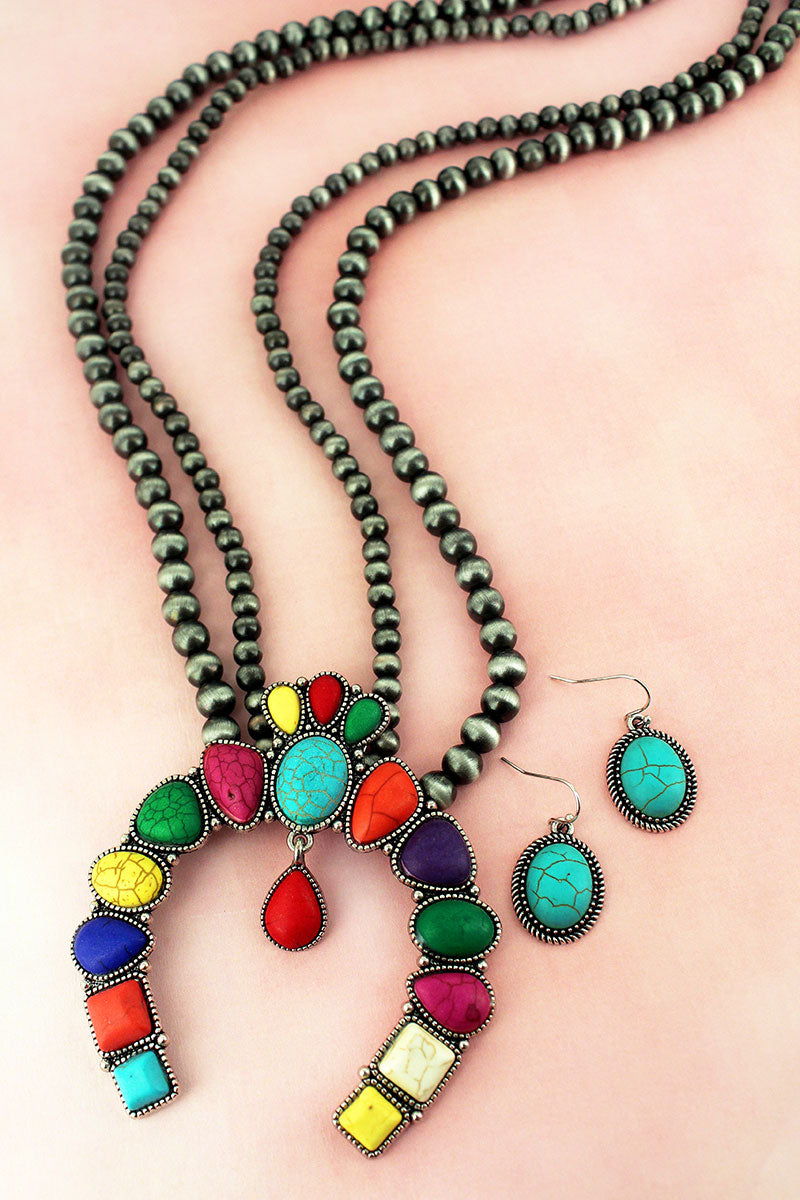 Multi-Color Stone Naja Pendant Navajo Pearl Necklace and Earring Set