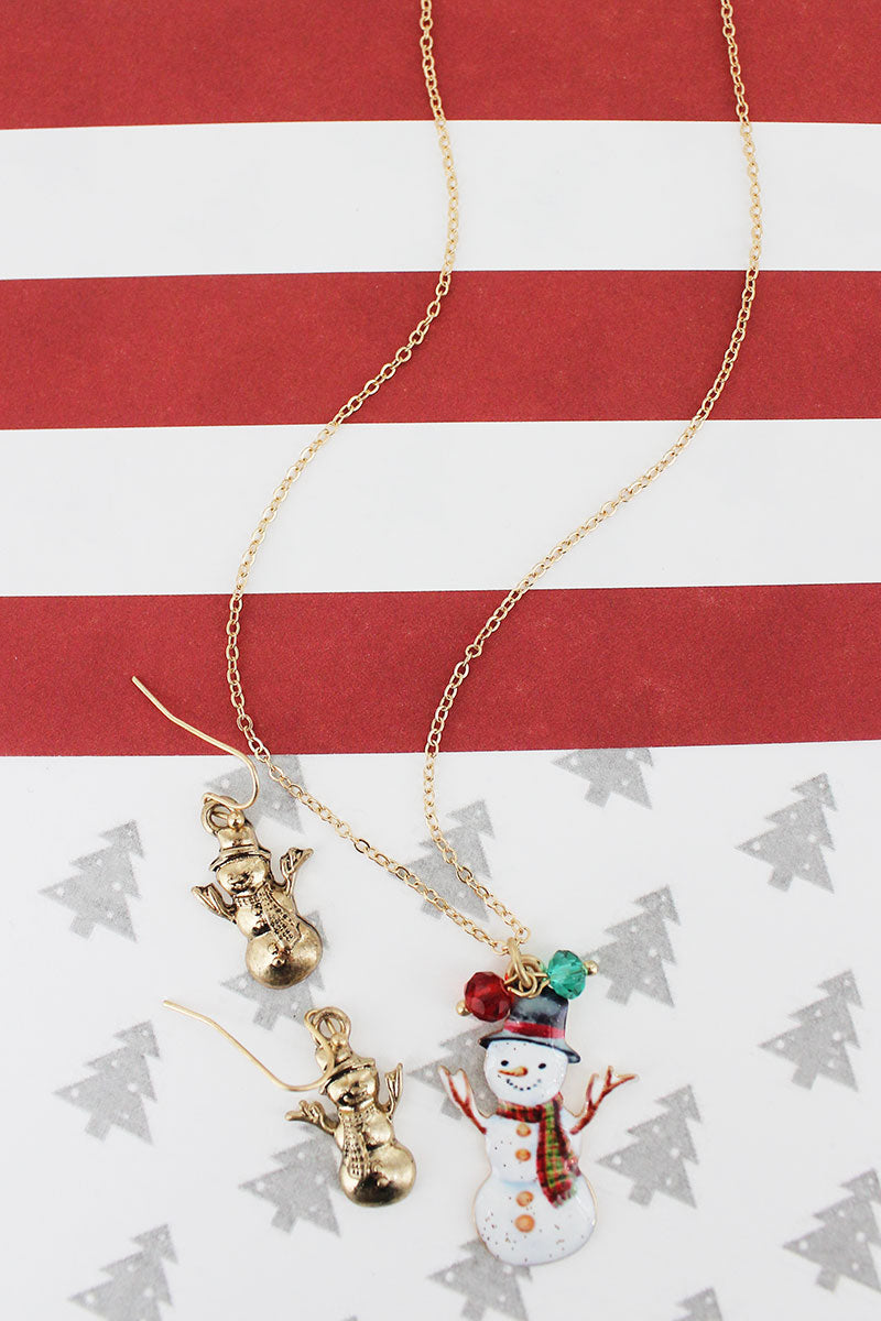 Snowman Worn Goldtone Necklace and Earring Set