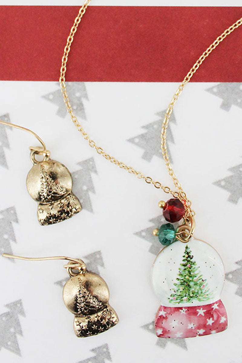 Snowglobe Worn Goldtone Necklace and Earring Set