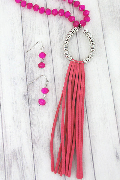 Fuchsia and Silvertone Teardrop Tassel Beaded Necklace and Earring Set