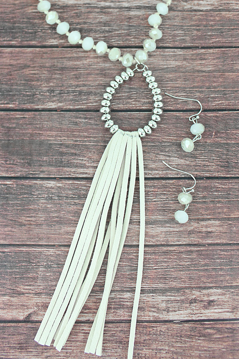 Ivory and Silvertone Teardrop Tassel Beaded Necklace and Earring Set