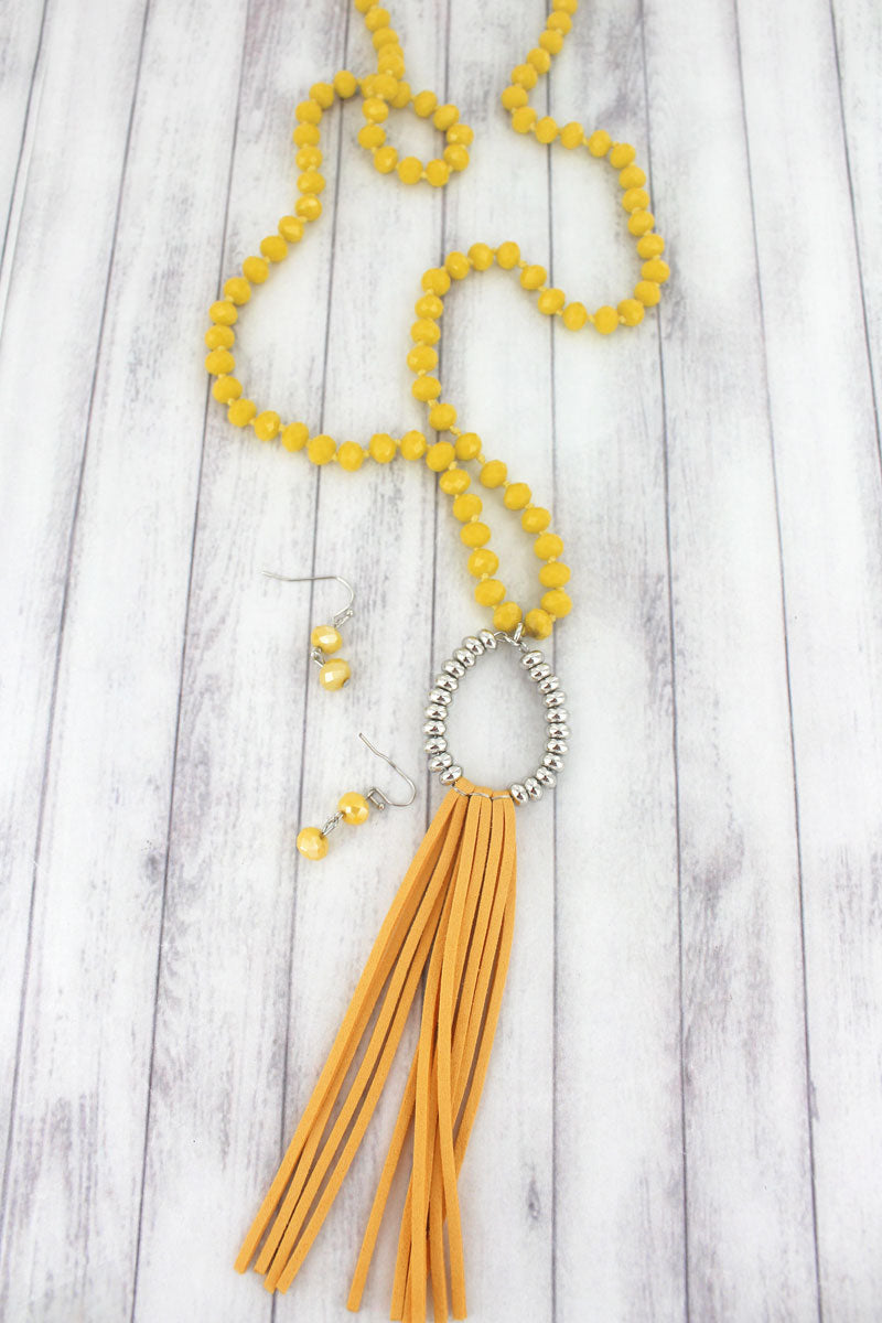 Yellow and Silvertone Teardrop Tassel Beaded Necklace and Earring Set