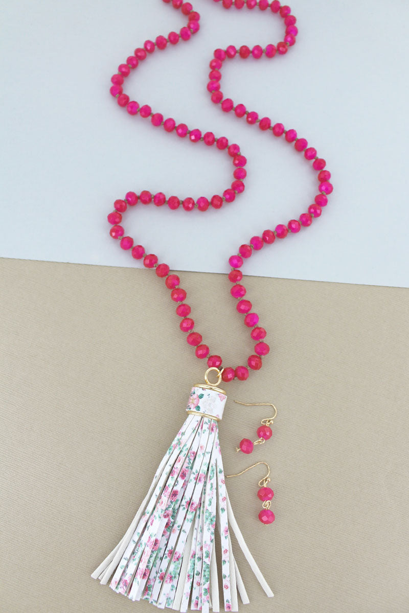 Fuchsia Beaded Floral Tassel Necklace and Earring Set